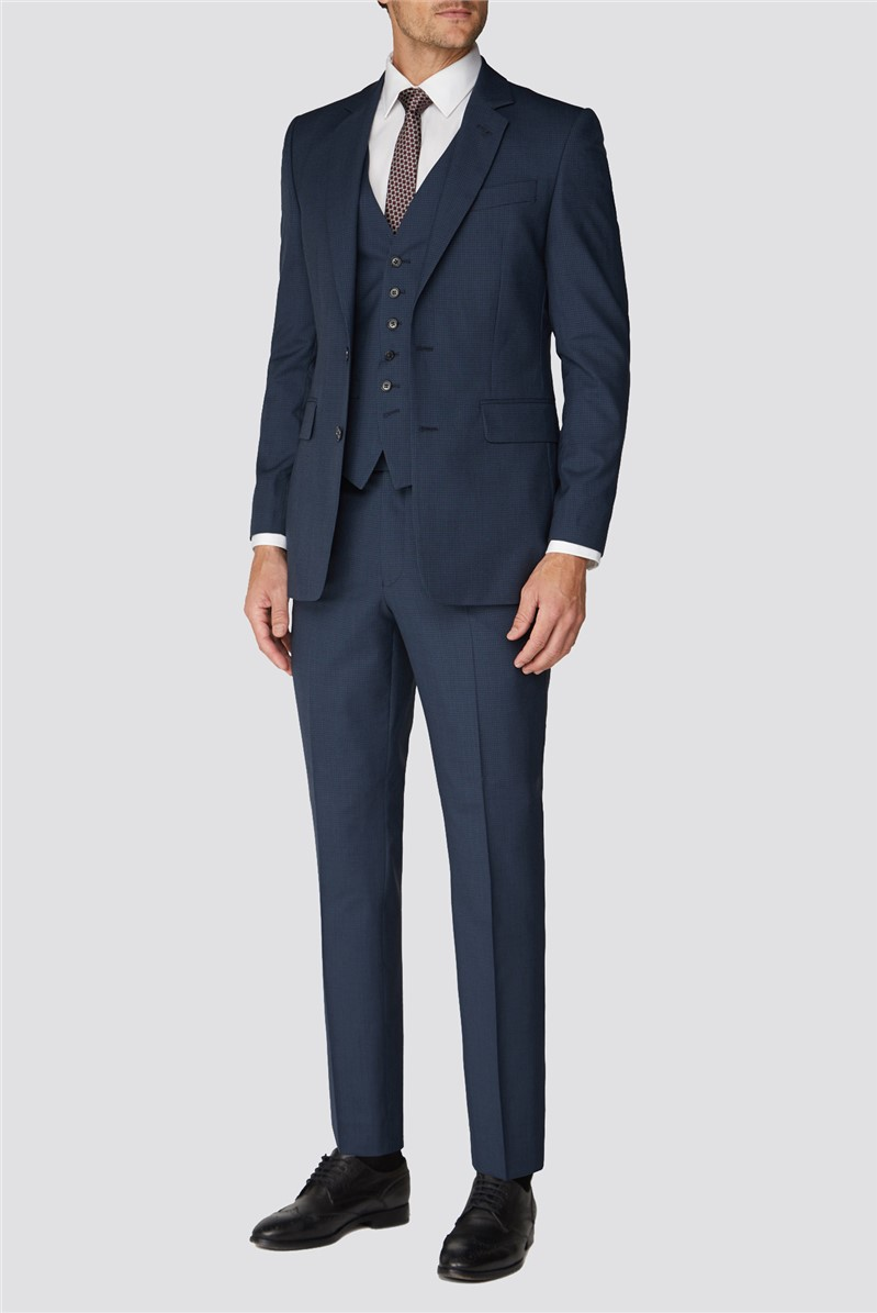 Branded Blue Mini Check Tailored Fit Suit Trouser