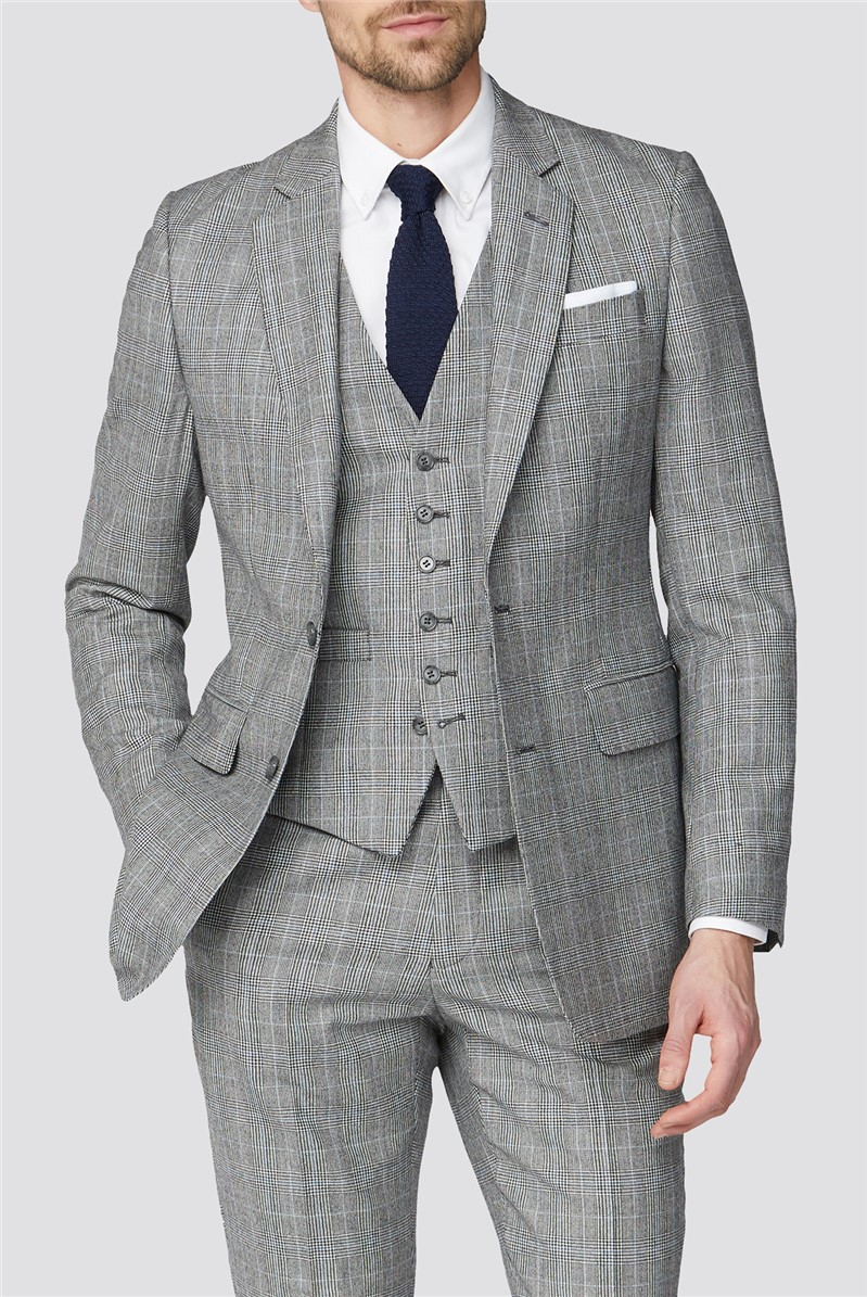 Branded Blue Prince of Wales Checked Tailor Fit Suit Jacket