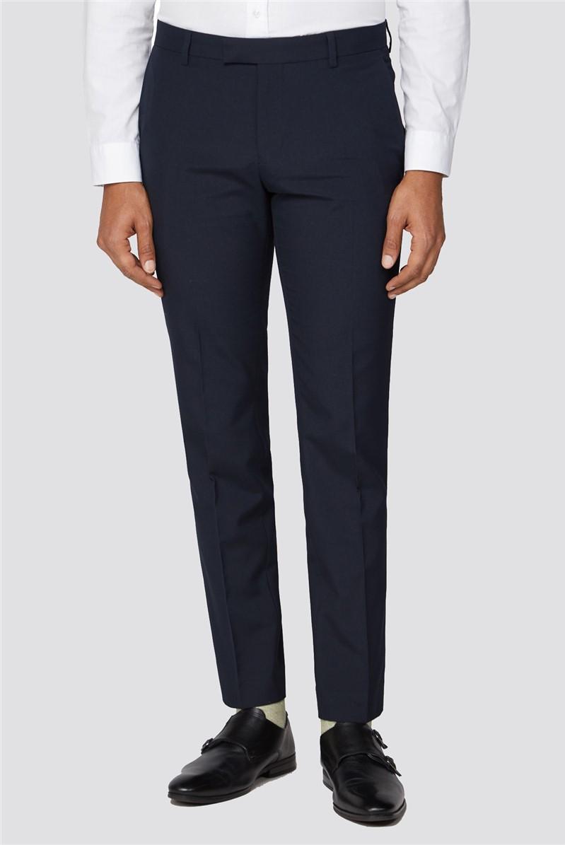 Navy Plain Slim Trousers