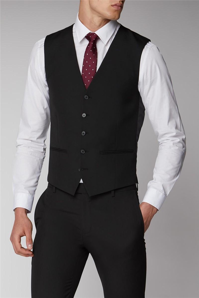 Black Plain Suit Waistcoat