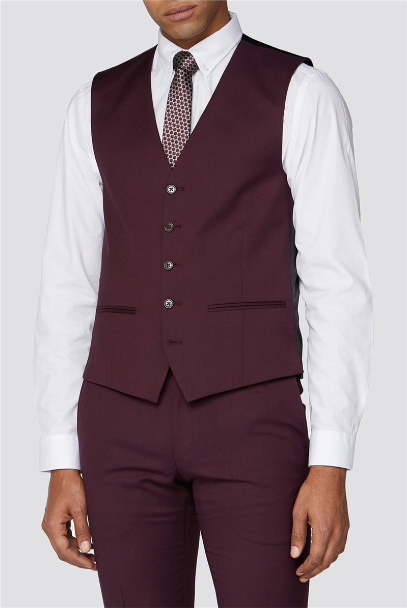 Burgundy Plain Waistcoat