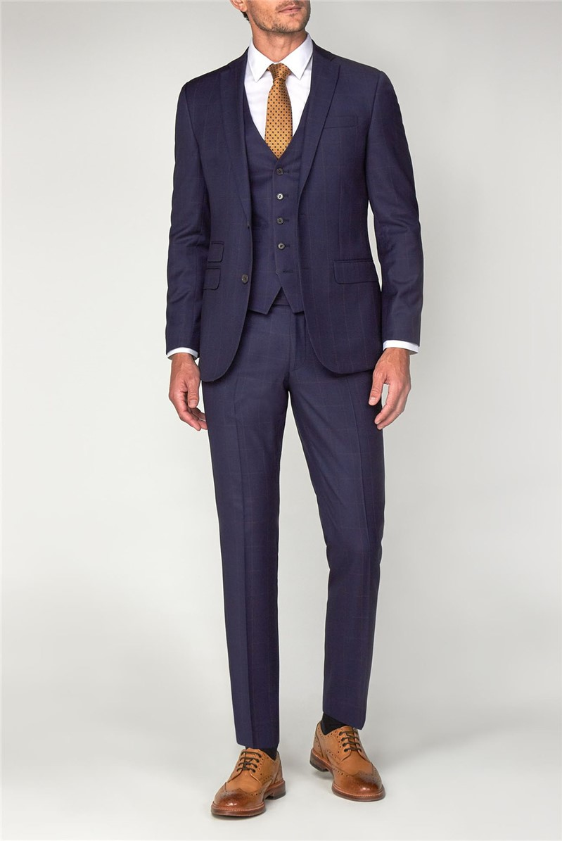 Navy with Rust Windowpane Check Suit