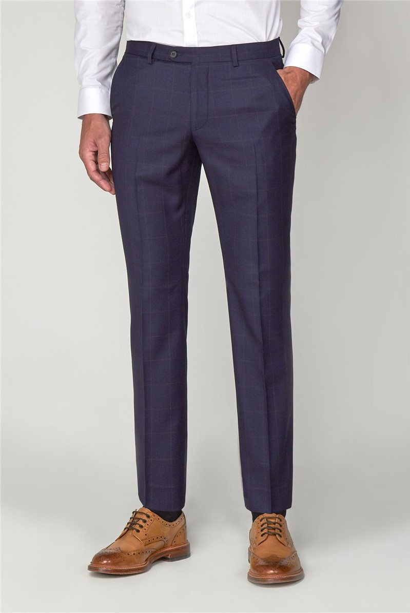 Navy with Rust Windowpane Check Trousers