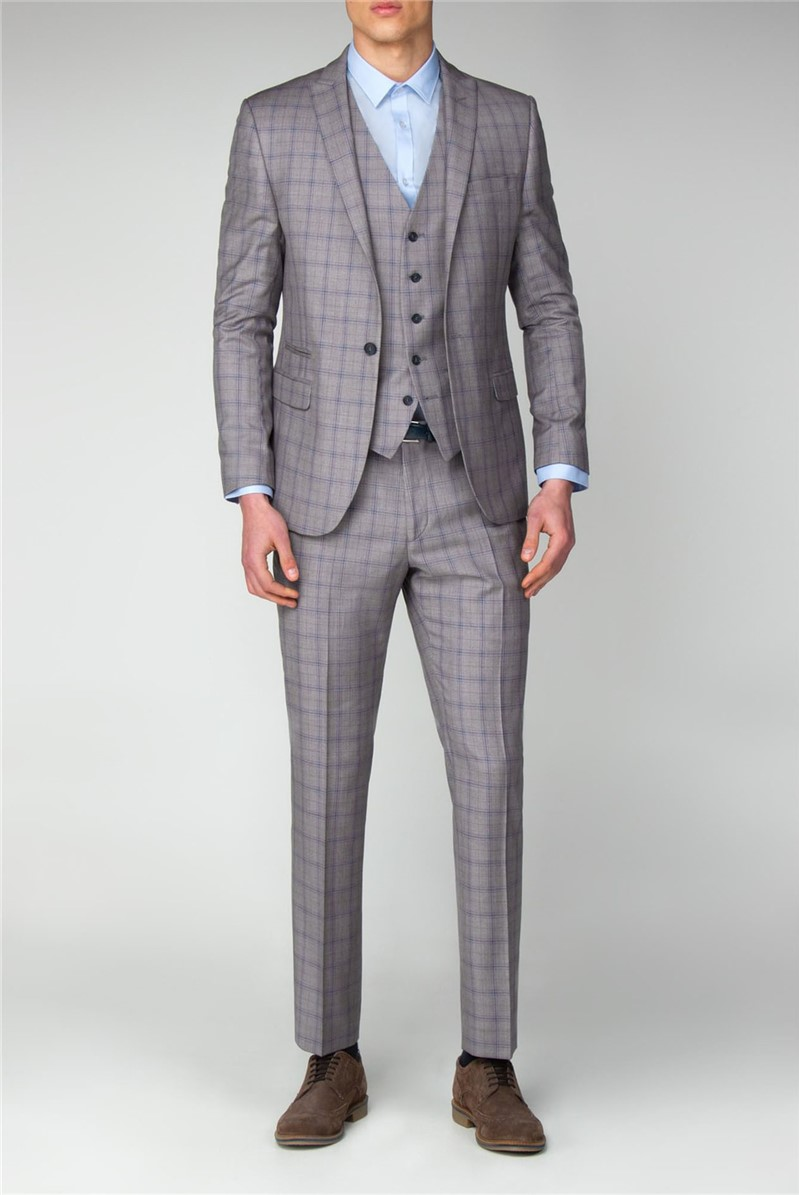 Grey with Blue Overcheck Slim Fit Suit