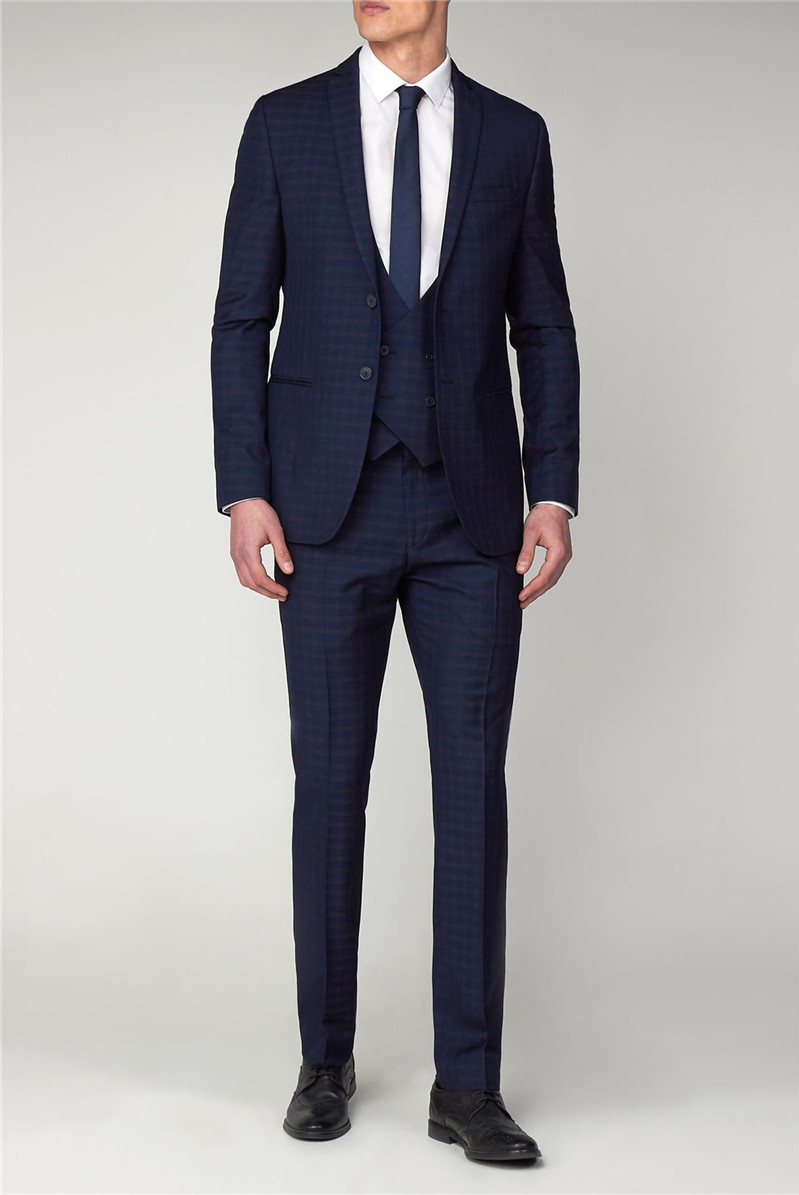Navy Multi Check Slim Fit Suit