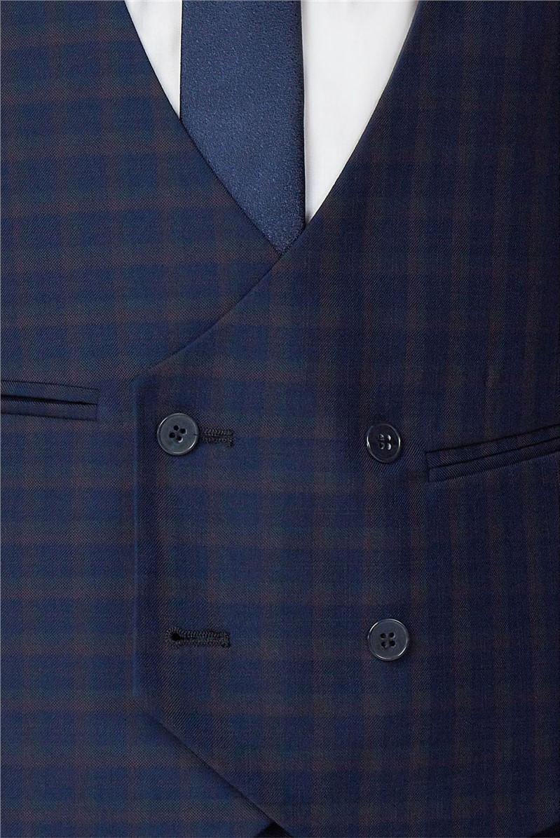 Navy Multi Check Double Breasted Waistcoat