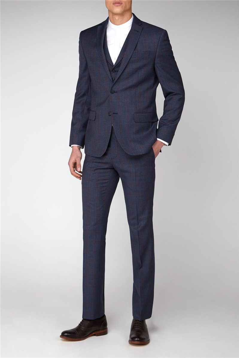 Airforce & Pink Check Tailored Fit Suit