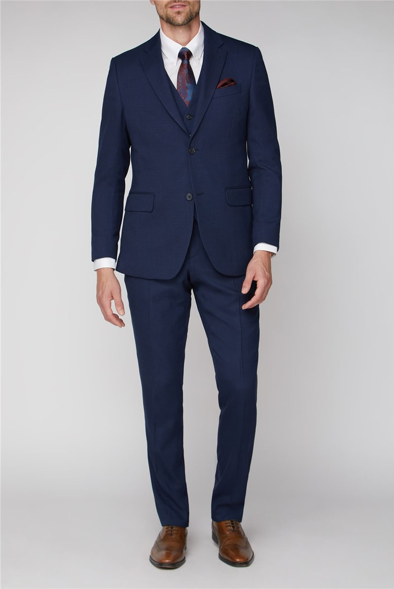 Navy Hopsack Regular Fit Travel Suit