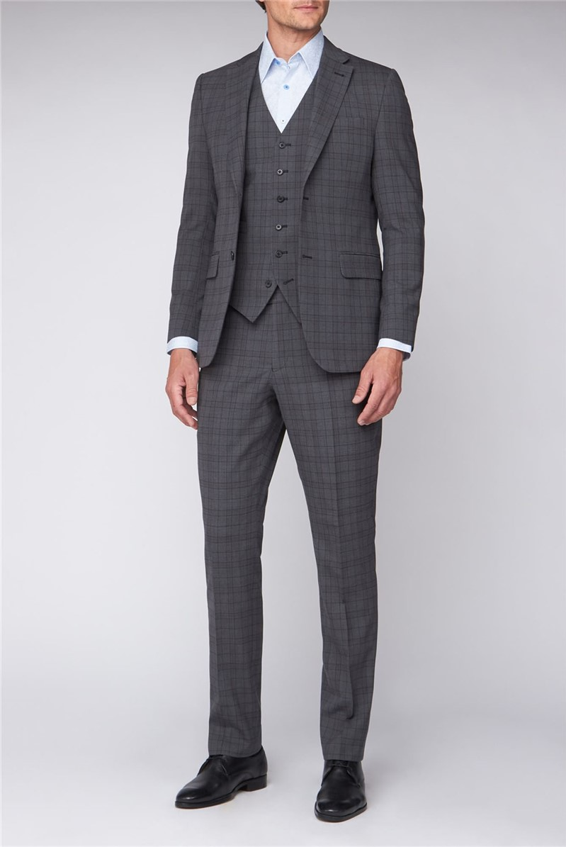 Grey Green Check Regular Fit Travel Suit Trouser