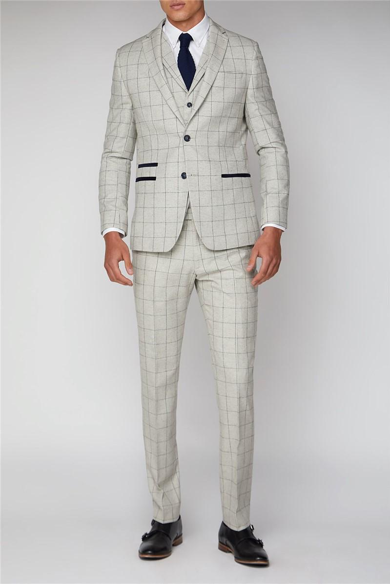 Cream Check Slim Fit Suit