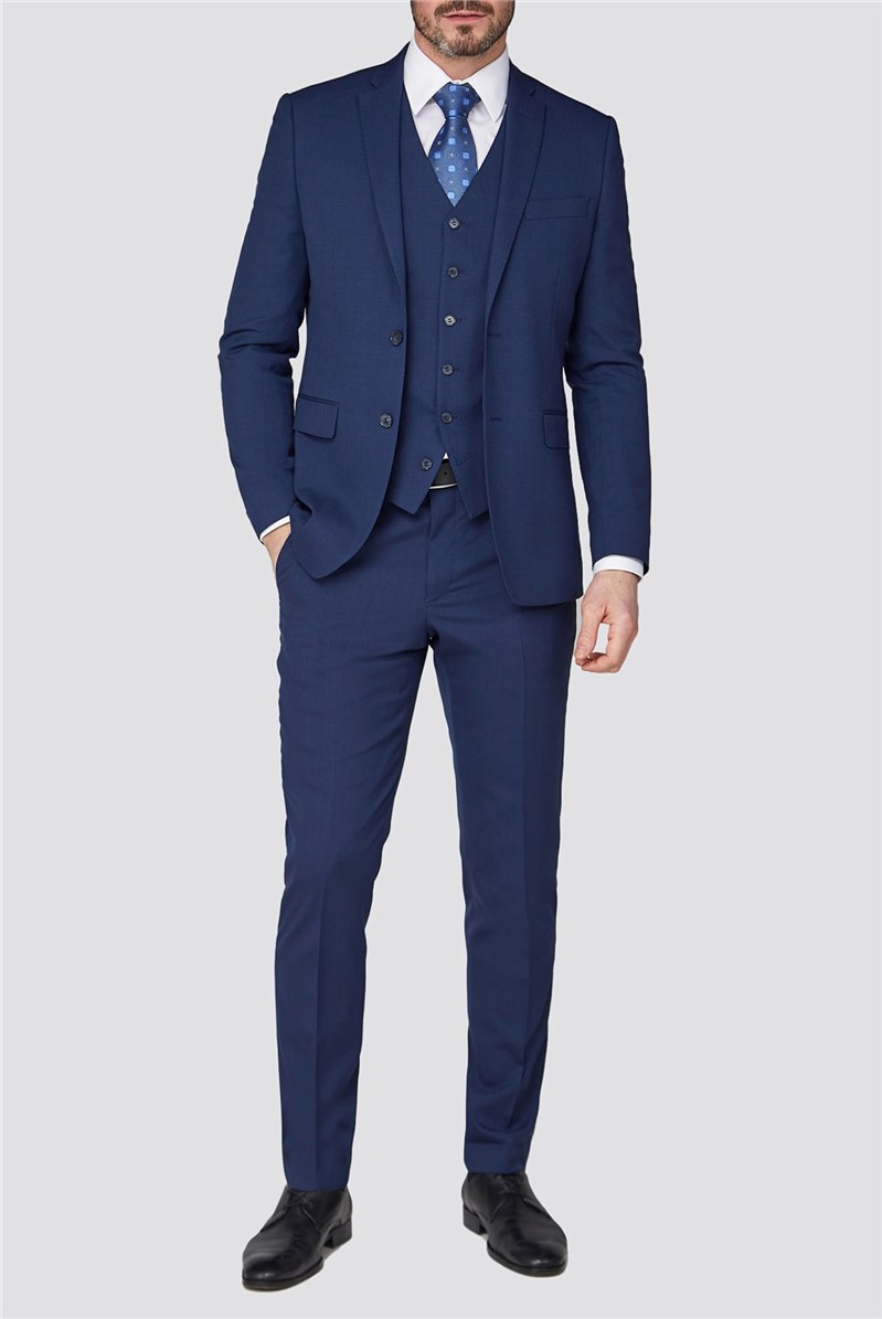Stvdio Blue Jacquard Texture Tailored Fit Performance Suit