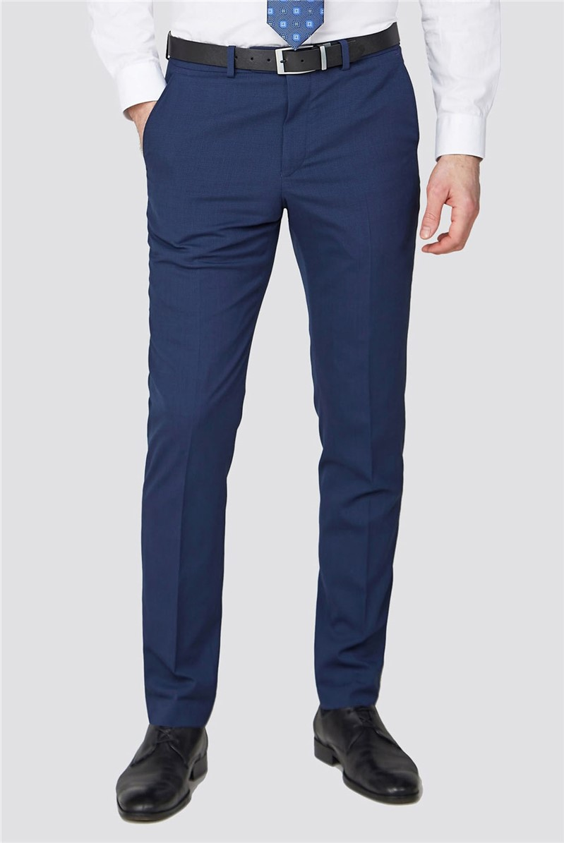 Studio Blue Jacquard Texture Performance Tailored Fit Trousers