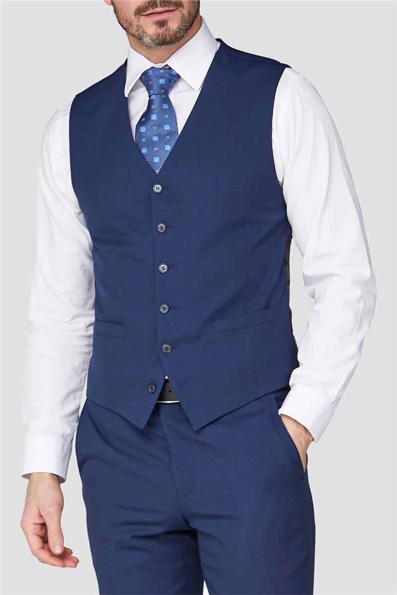 Studio Blue Jacquard Texture Performance Tailored Fit Waistcoat