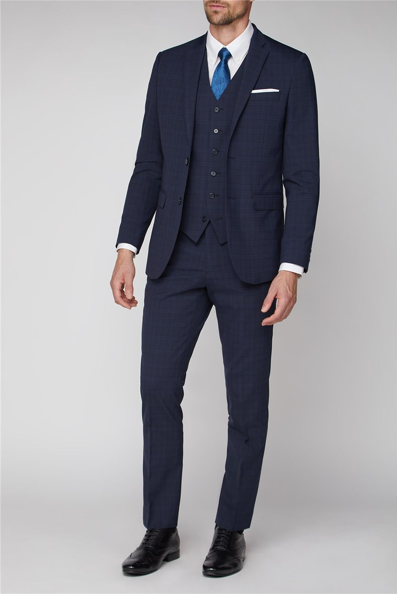 Stvdio Navy Check Performance Tailored Fit Suit