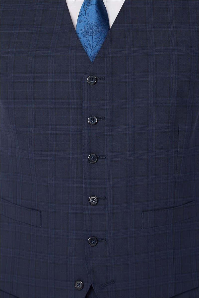 Stvdio Navy Check Performance Tailored Fit Waistcoat
