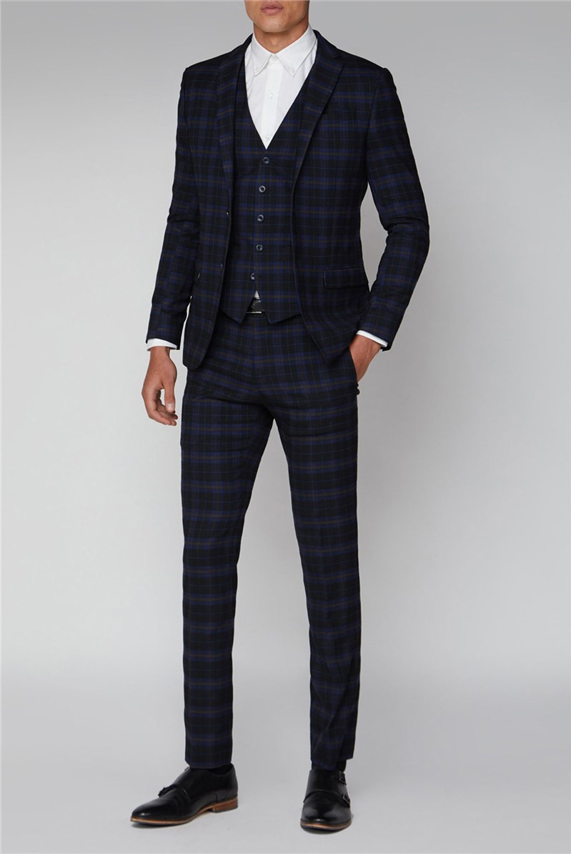 Blue Mustard Check Slim Fit Suit