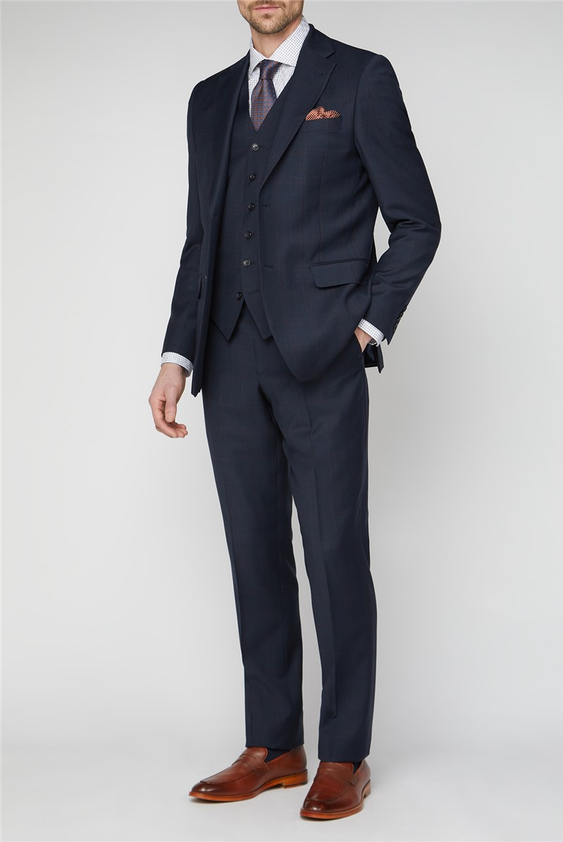 Navy & Red Checked Travel Suit