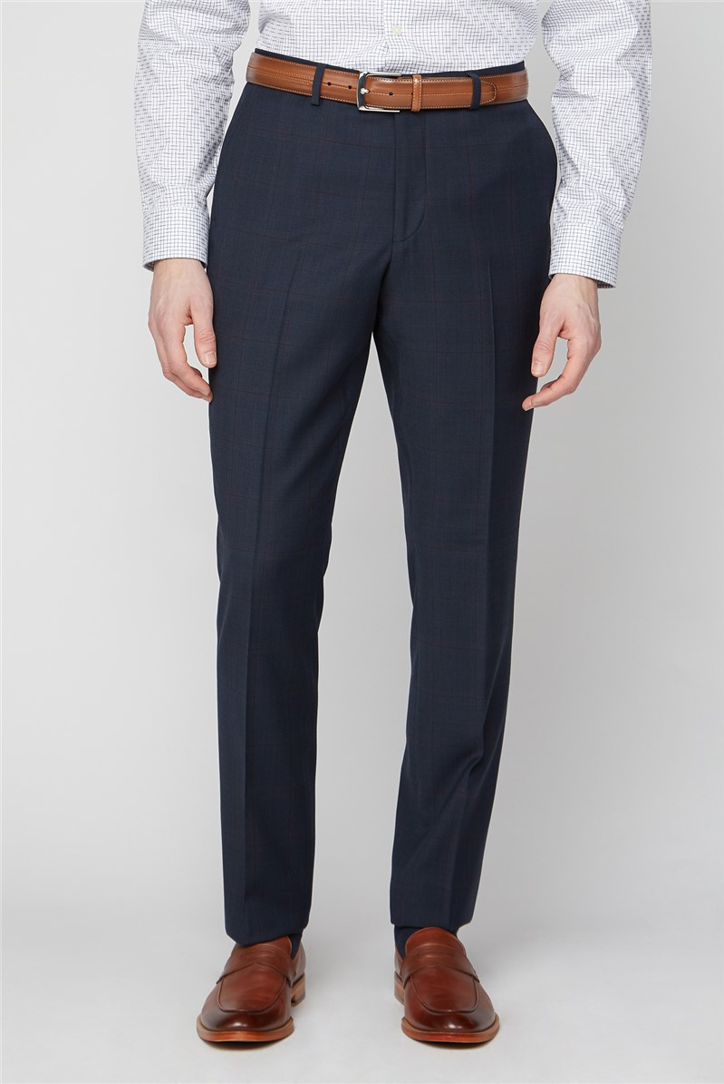 Navy & Red Checked Travel Suit Trousers