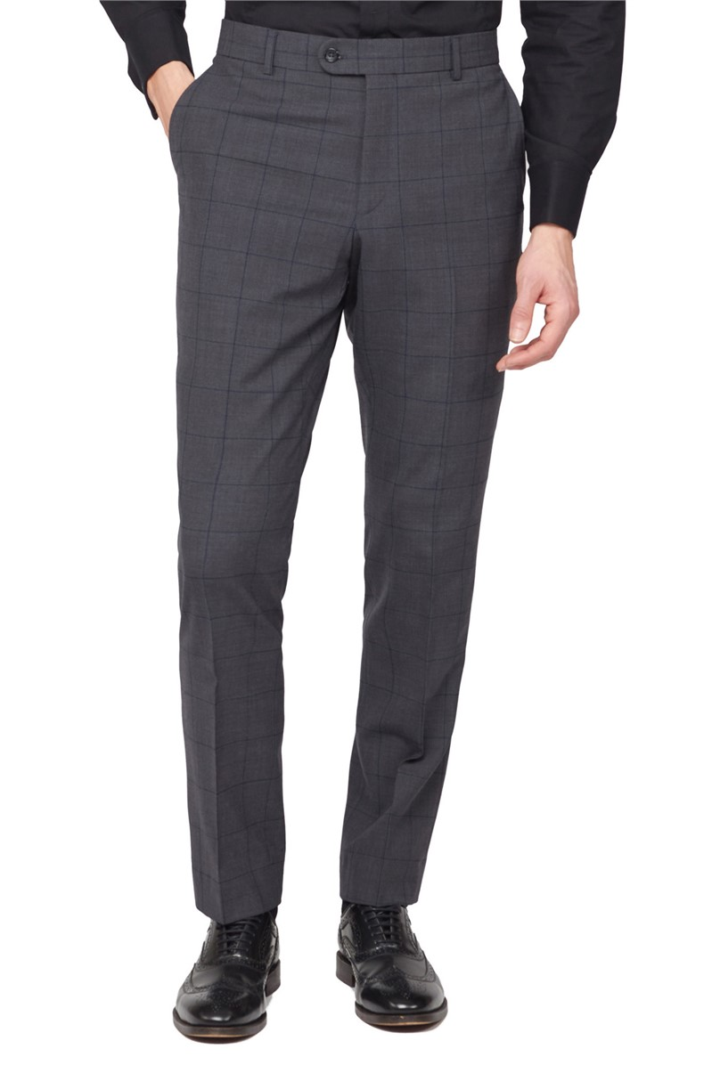 Charcoal & Green Window Check Travel Suit Trousers