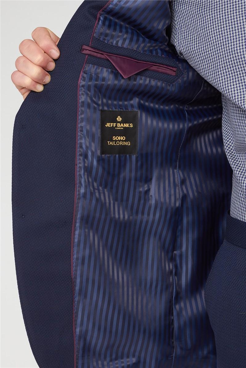 Navy Jacquard Regular Fit Suit