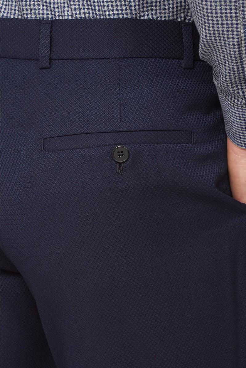 Navy Jacquard Regular Fit Waistcoat