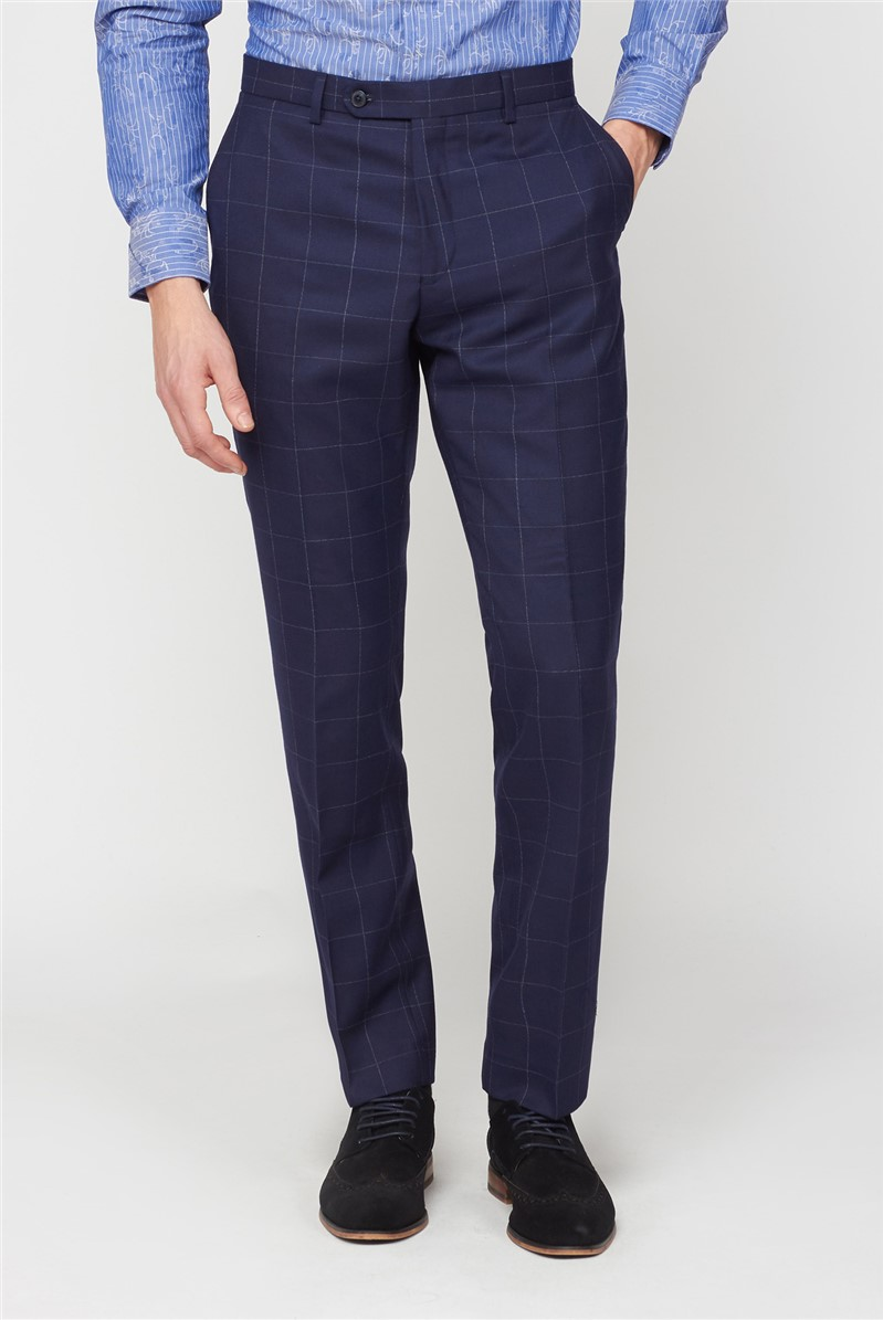 Navy Boucle Windowpane Checked Trousers