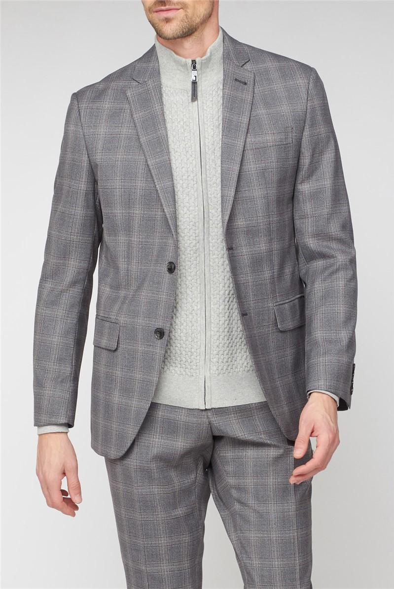 Grey Mulberry Check Regular Fit Waistcoat