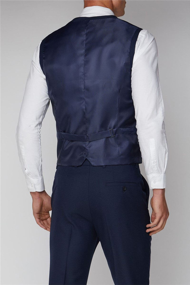 Stvdio Blue Scratch Texture Slim Fit Ivy League Waistcoat
