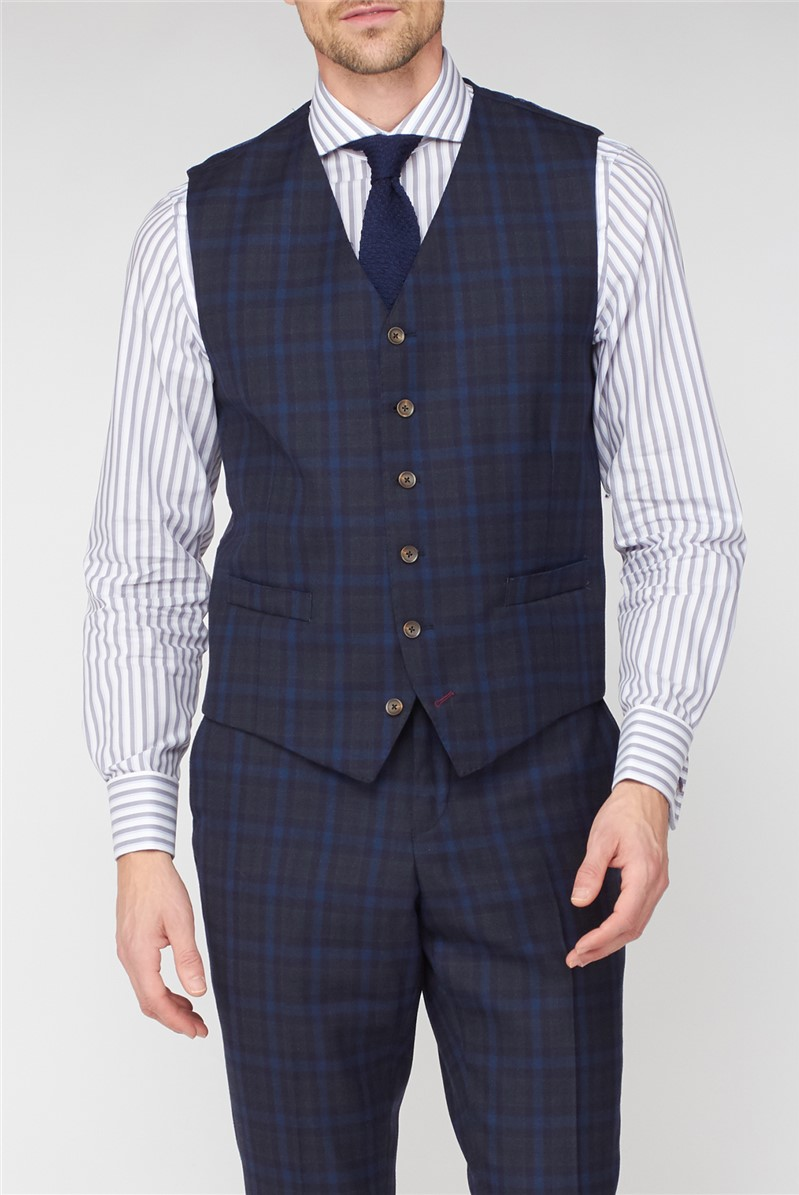 Studio Blue Green Jaspe Check Ivy League Waistcoat