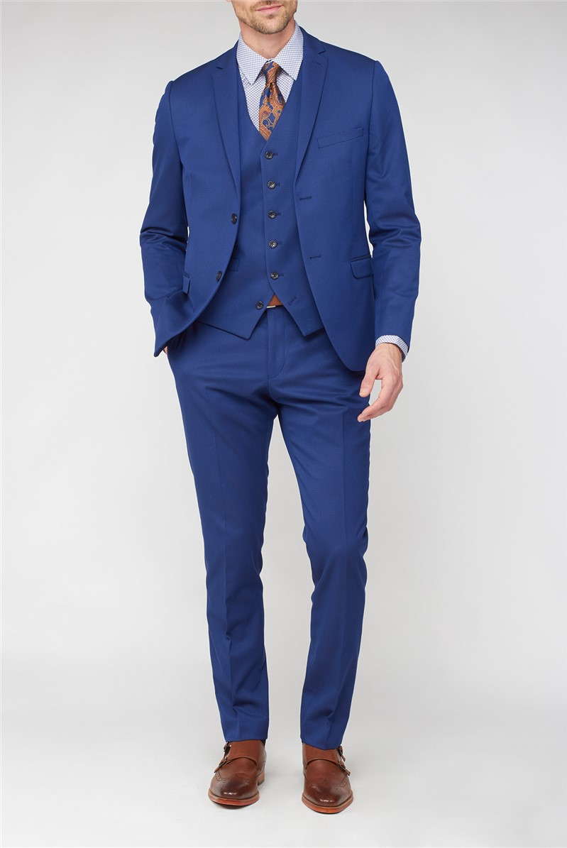Bright Blue Jaquard Super Slim Fit Brit Suit
