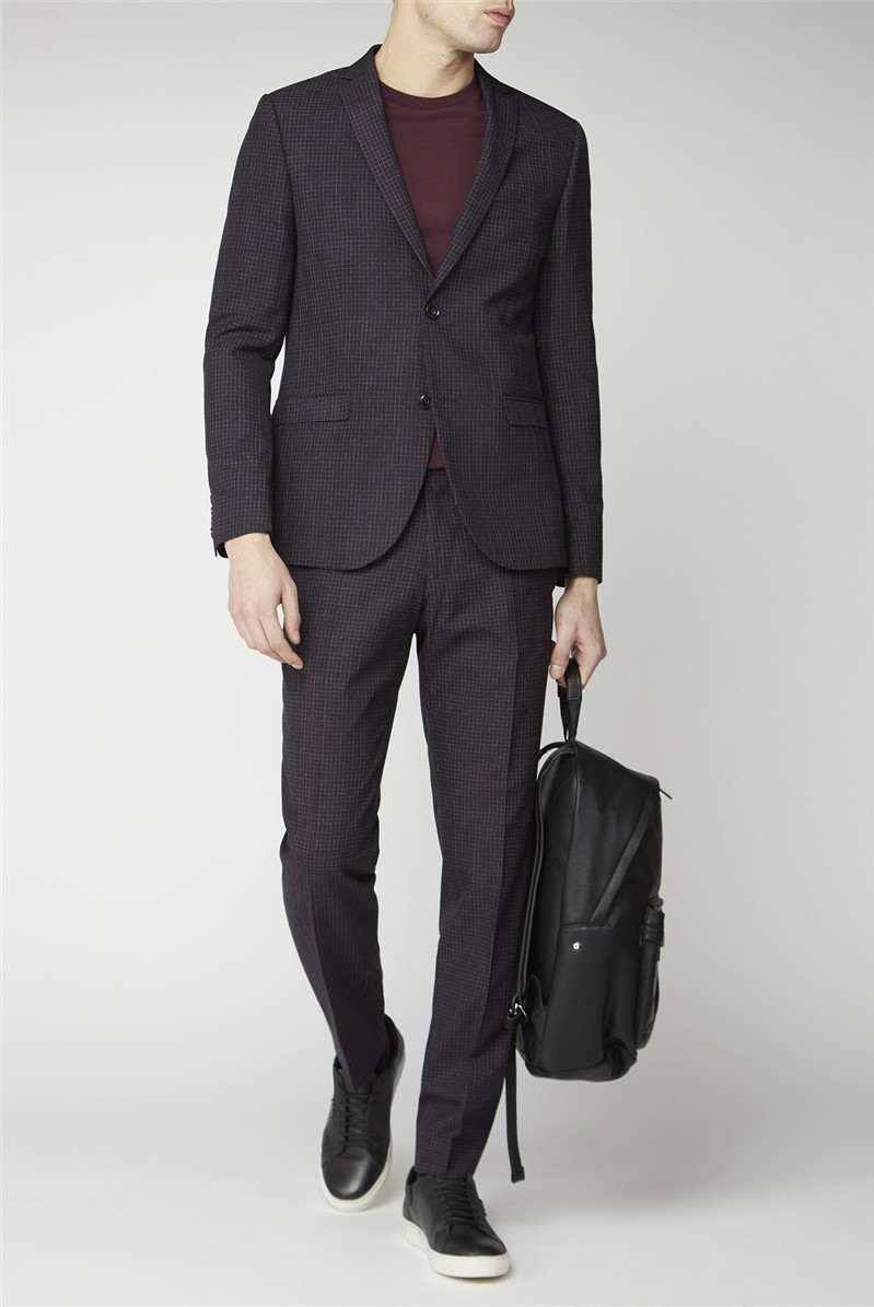 Mulberry Scratch Texture Super Slim Fit Brit Suit