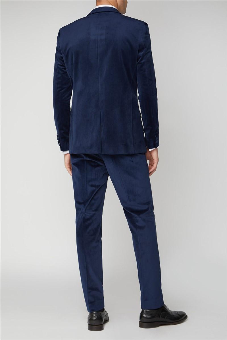 Bright Blue Velvet Slim Fit Jacket