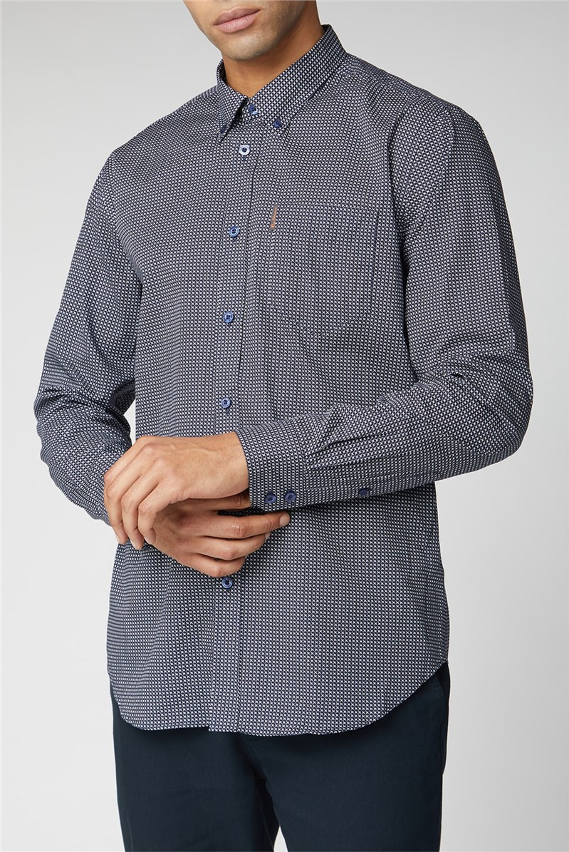 Long Sleeve Micro Cross Print Shirt