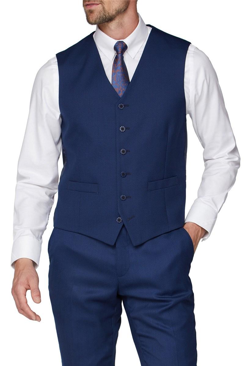 Blue Textured Regular Fit Waistcoat