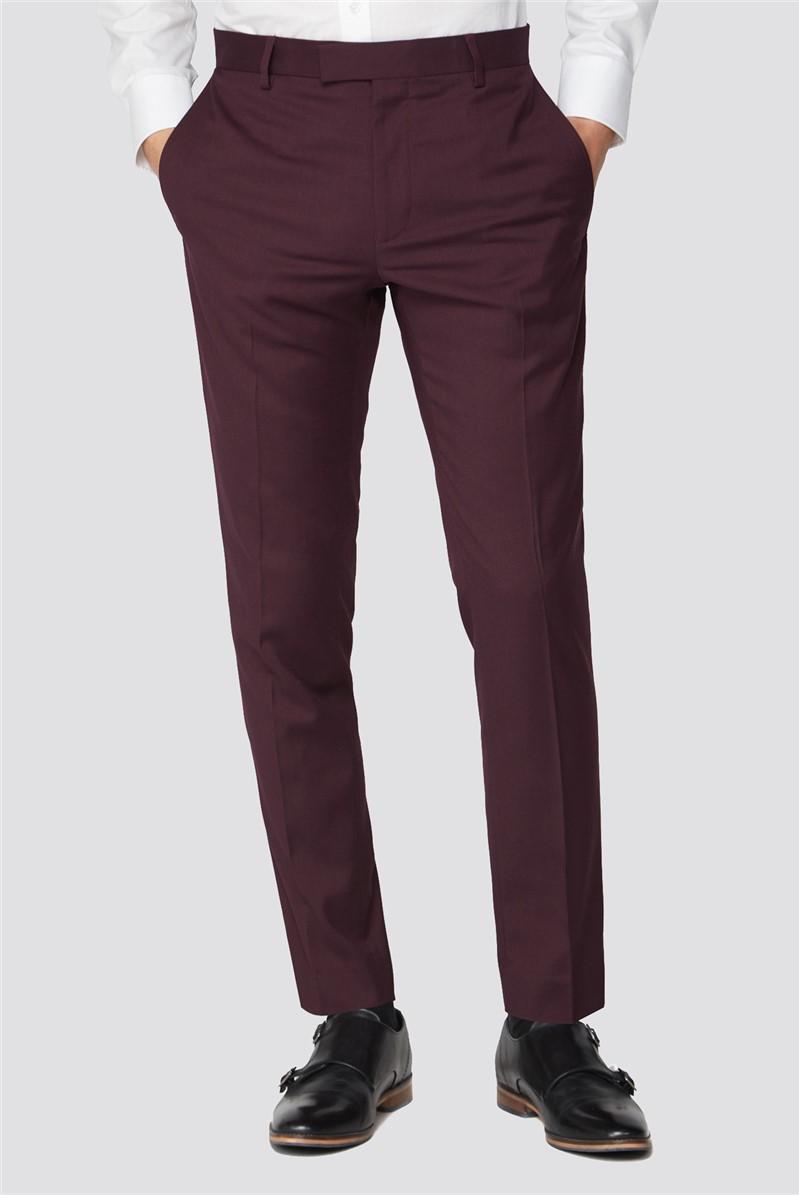 Burgundy Plain Skinny Fit Suit Trouser