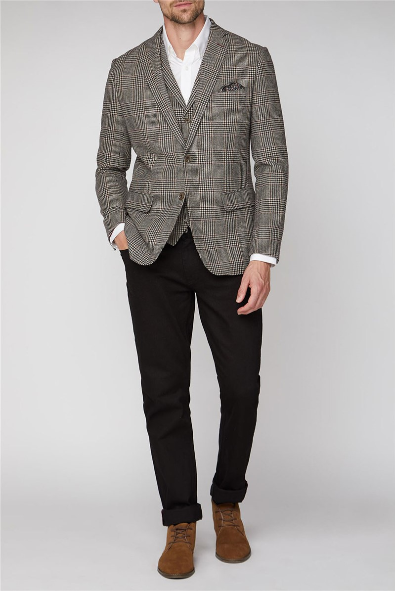 Stvdio Brown Prince of Wales Check Blazer