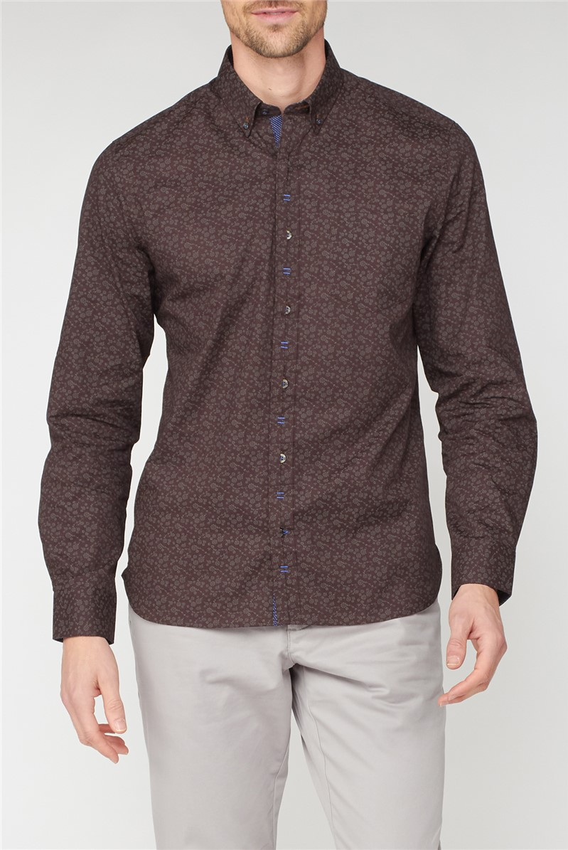 Stvdio Casual Brown Tonal Floral Print Shirt