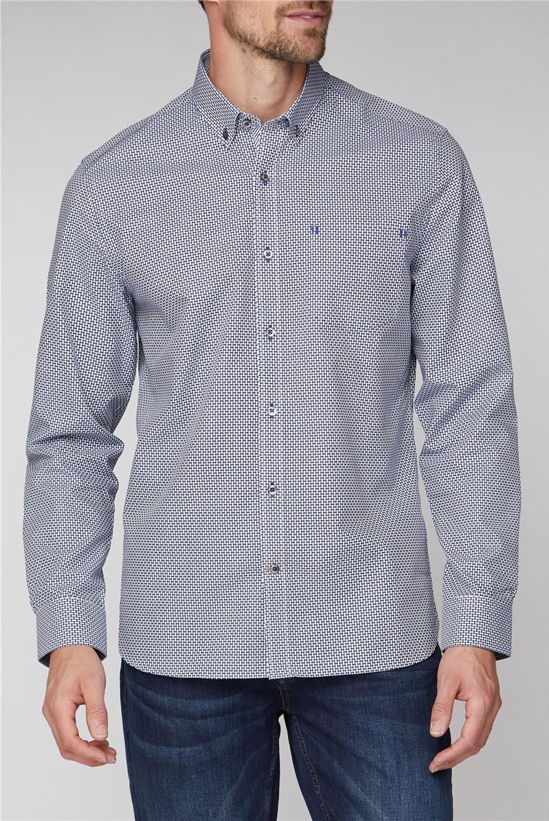 Stvdio Navy Weaves Check Shirt