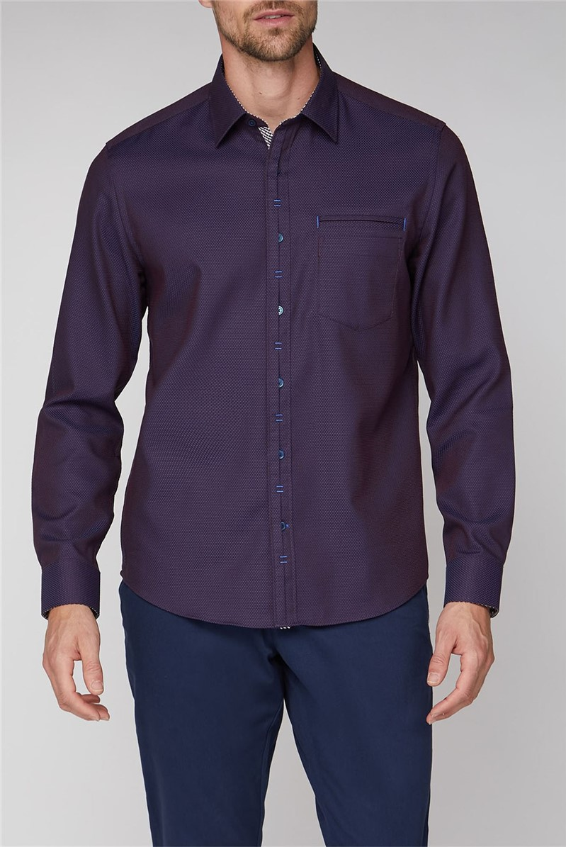 Stvdio Casual Burgundy Tiles Dobby Shirt