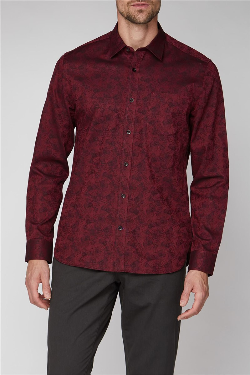 Stvdio Casual Wine Jacquard Shirt
