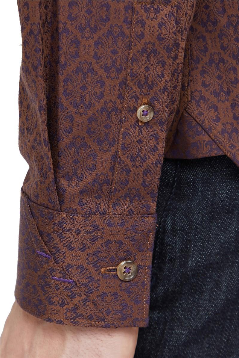 Trs/Shirts  Brown Deco Jacquard Shirt