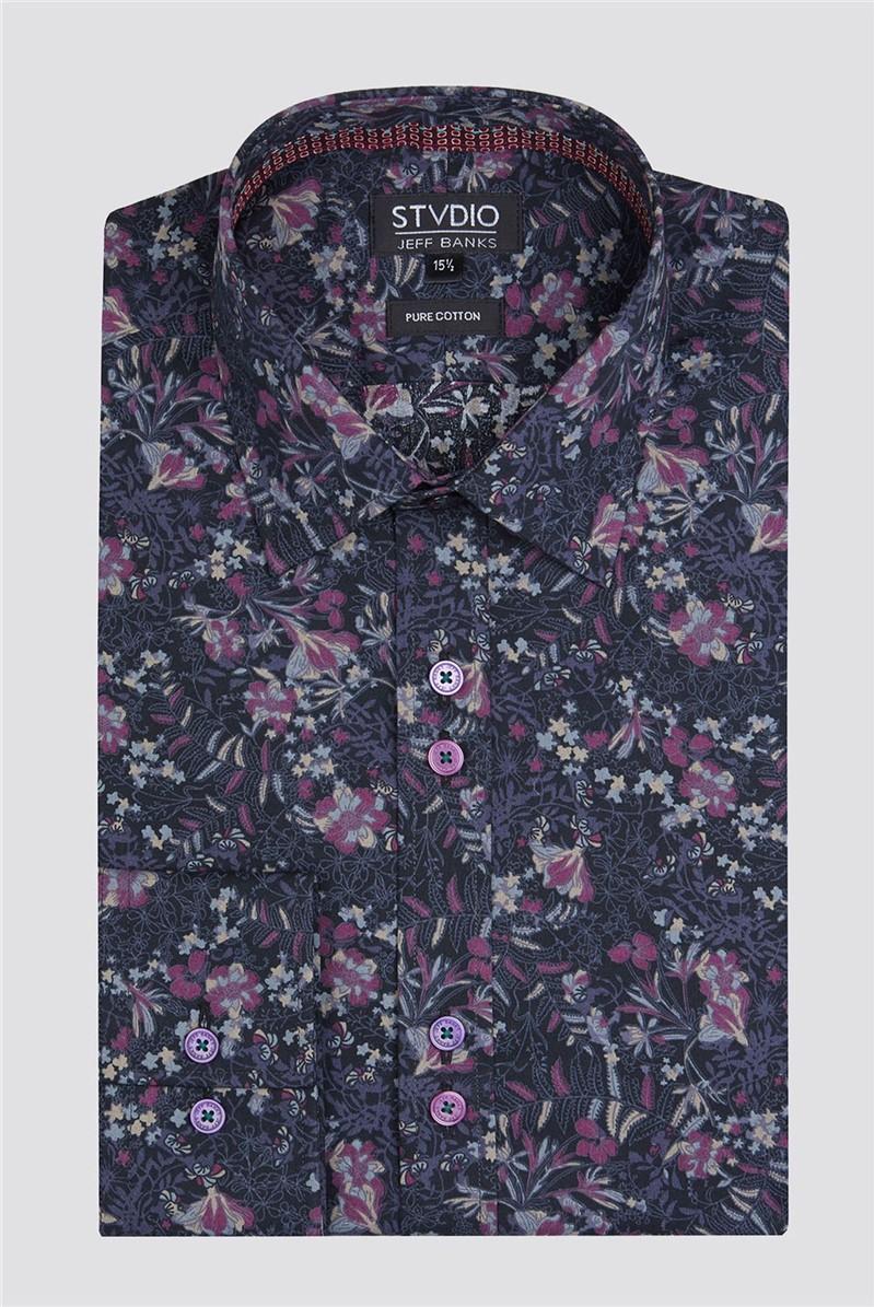 Stvdio Black Leaf Print Shirt