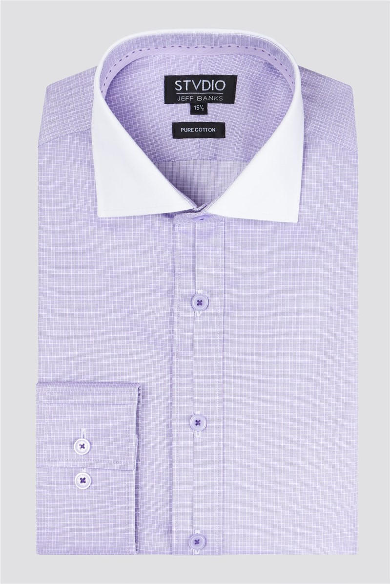 Stvdio Lilac Square Dobby Men's Slim Fit Shirt