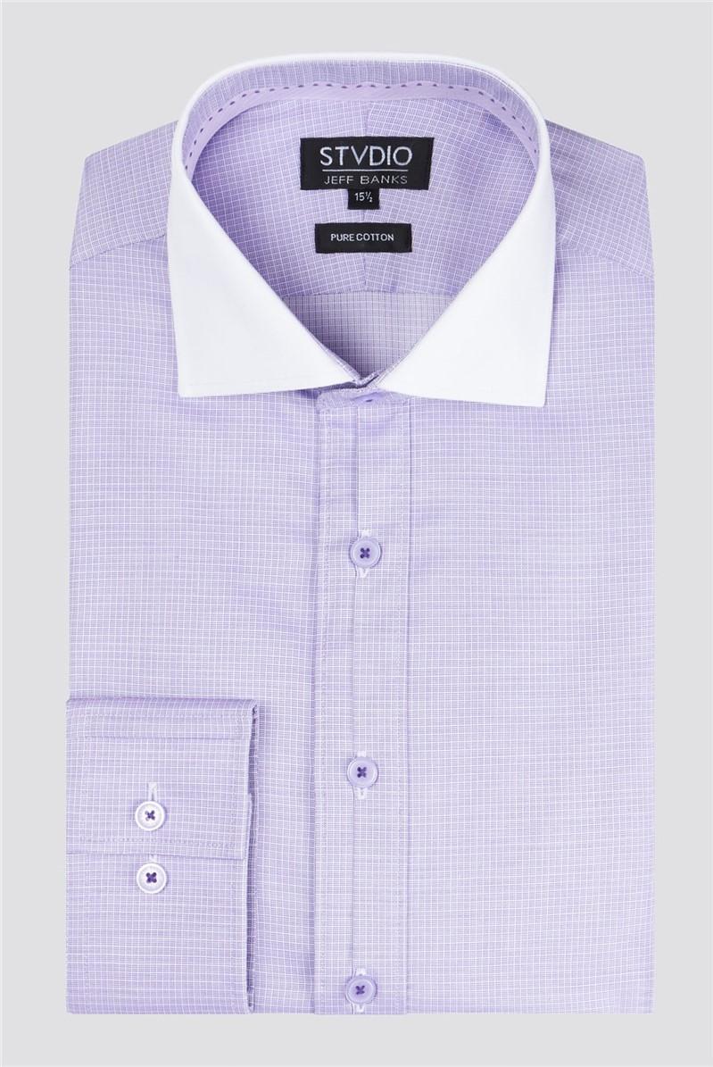 Stvdio Lilac Square Dobby Men's Slim Fit Shirt