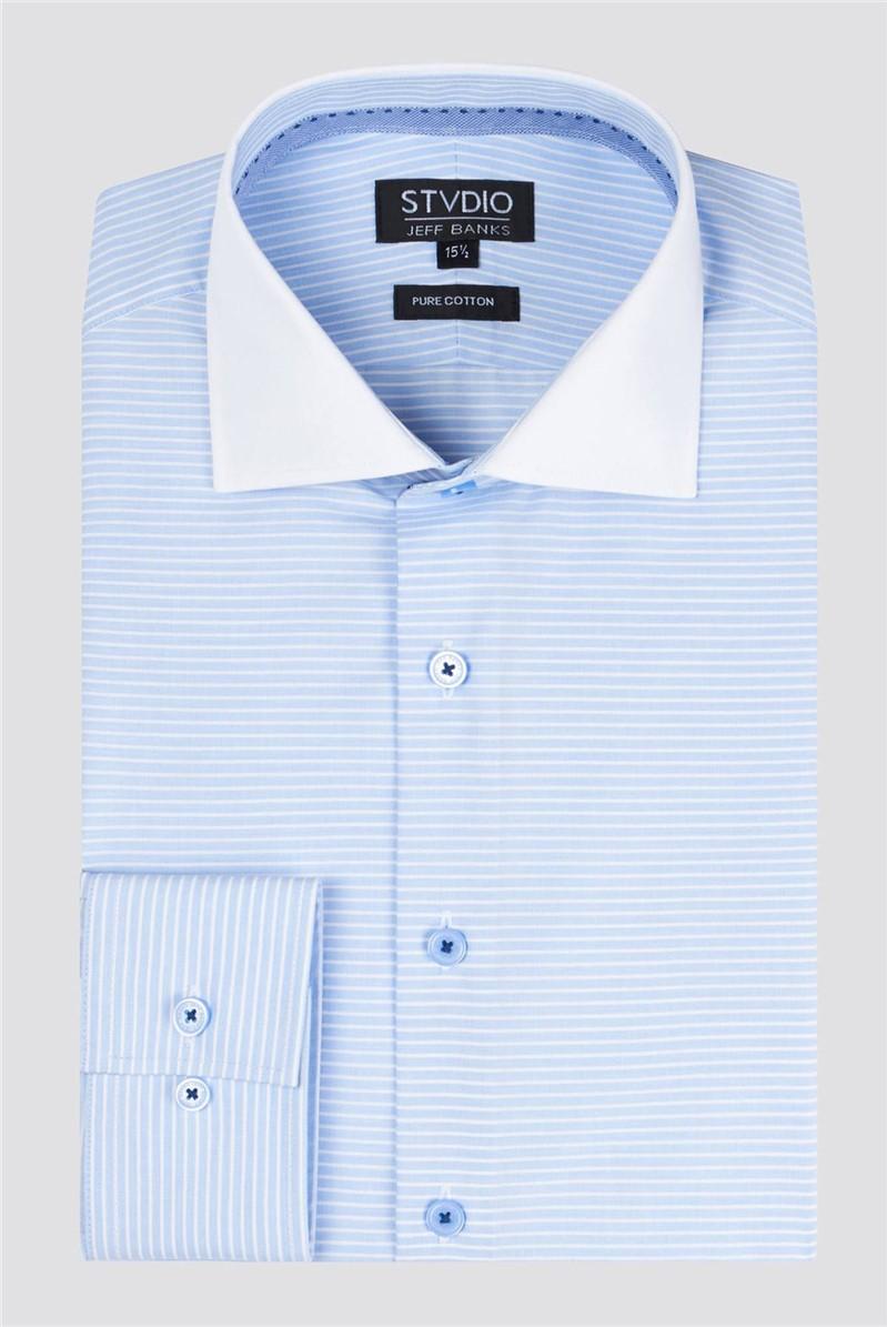 Stvdio Light Blue Horizontal Stripe Shirt