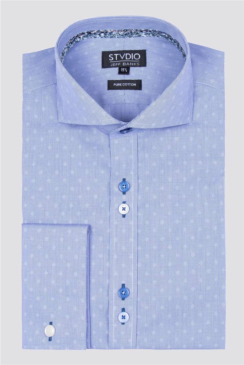 Stvdio Blue Circles Dobby Shirt