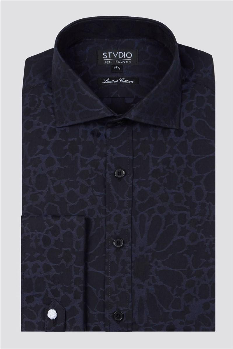 Stvdio Black Large Floral Jacquard Shirt
