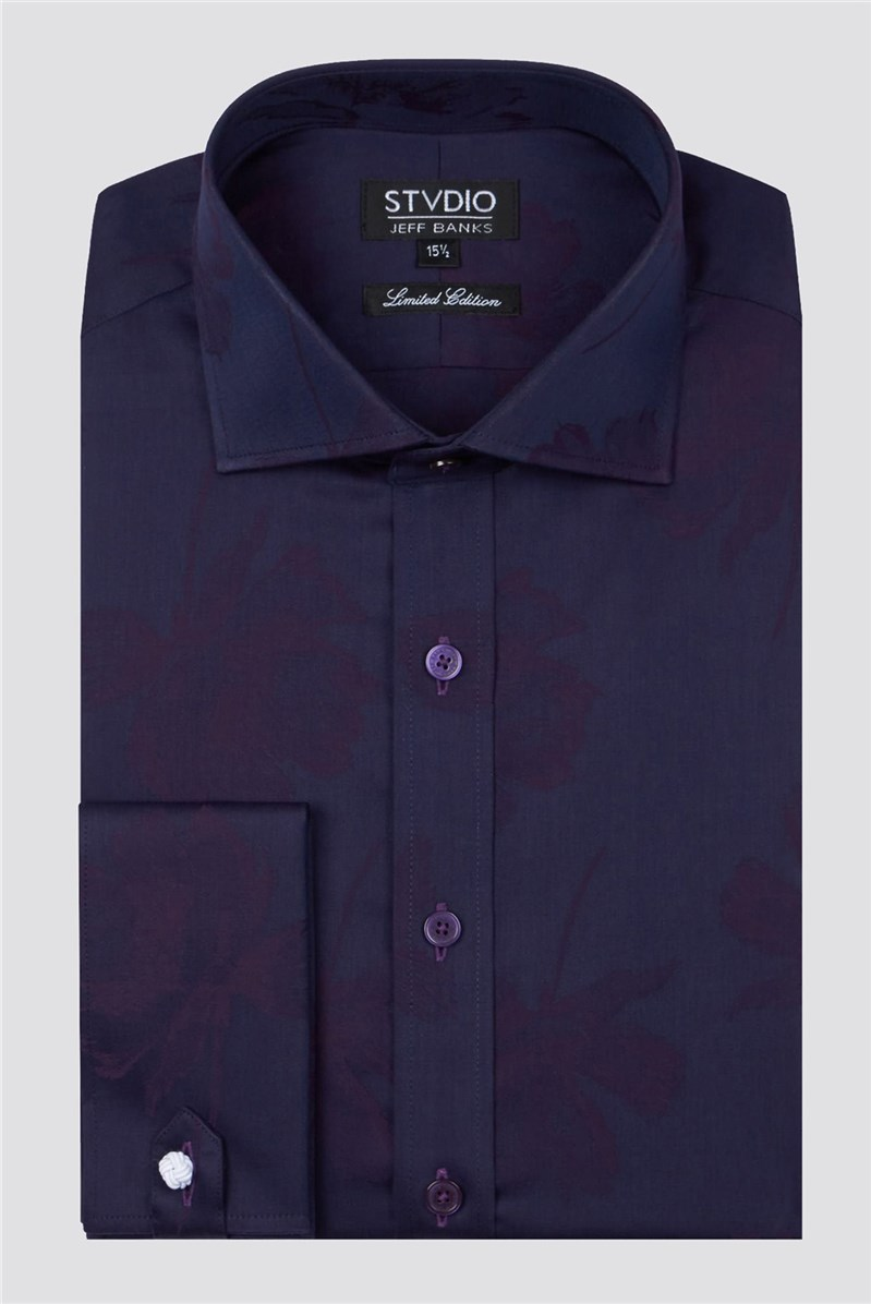 Studio Stvdio by Jeff Banks Purple Jacquard Shirt