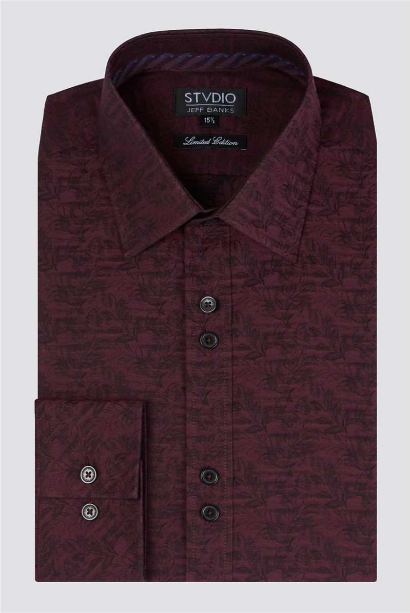 Stvdio Burgundy Jacquard Shirt