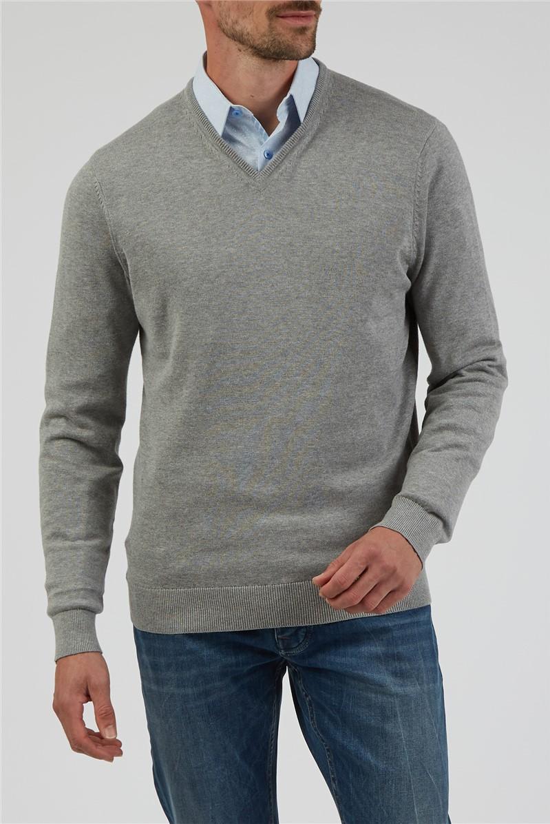 Grey Marl V Neck Jumper